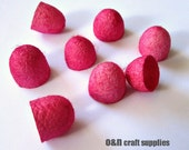 Dyed silk cocoons, hot pink / fuchsia, set of 8 halves