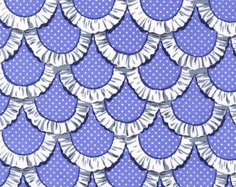 OOP HTF 1 yard, 23 in Michael Miller Tea Room Fabric Scalloped Edged Apron Ruffles with Polka Dots Dot on Periwinkle Blue Lavender