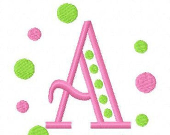 Embroidery Machine Polka Dot Monogram Alphabet Set 2026 INSTANT DOWNLOAD