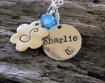 personalized, hand stamped mommy,family necklace