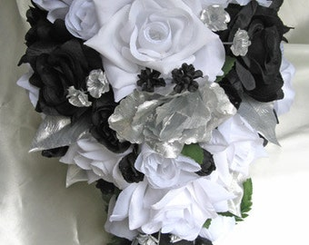 """Wedding bouquet Bridal Silk flowers Cascade BLACK SILVER WHITE 21 pcs package centerpiece bouquets boutonniere corsages """"RosesandDreams"""""""