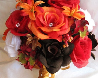 "Wedding Bouquet Bridal Silk flowers Lily ORANGE BROWN FALL Red White 17 pcs package  Free shipping decoration "" Roses and Dreams"""