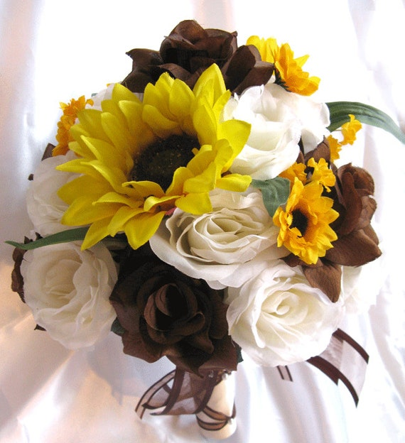 Brown Wedding Flowers: Wedding Bouquet Bridal Silk Flowers BROWN SUNFLOWER YELLOW