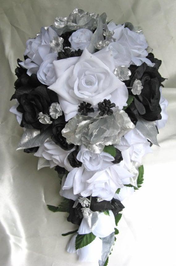 Wedding Bouquet Bridal Silk Flowers Cascade BLACK SILVER WHITE