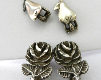 1940s Original EARRINGS LONDON -ancient and Rare Victorian earrings- 800 silver, numbered - pears and roses - Collectible--Art.461--