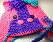 Hot Pink Horse Earflap Hat ALL Sizes from Newborn to Adult