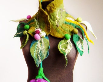 felted artistic eco friendly collar scarf, winter accessories