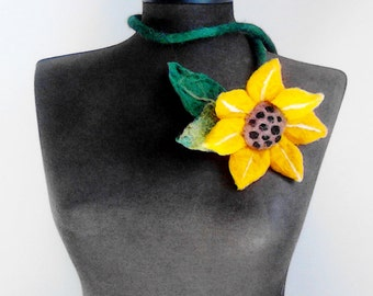 felt necklace, fiber sunflower necklace, eco friendly necklace, statement necklace