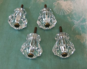 4 Fluted Glass Knobs Antique Brass Centers