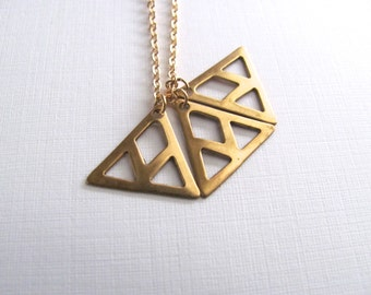 Long tiny triple triangle pendant necklace, geometric, 14k gold plated chain and brass vintage triangle pendant,  geometric jewelry