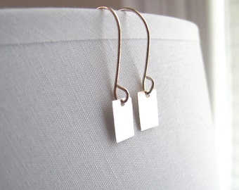 Sterling silver rectangle drop earrings, delicate minimalist, geometric jewelry