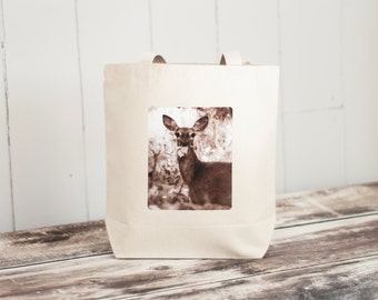 Oh, Deer - Natural Canvas Bag - Woodland - White Tailed Deer - Essentials Tote