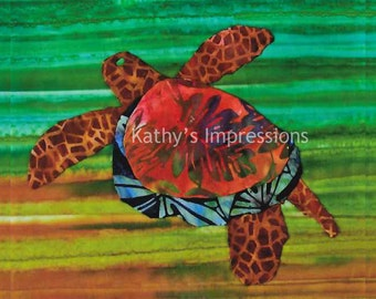 "HONU Sea TURTLE Warm Colors- 10.5"" Organic Cottn Sateen Batik Fabric Quilt Panel Block- Tropical Ocean Hawaii"