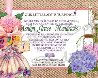 SOUTHERN BELLE girl birthday party invitations, hydrangea mason jar chandelier, burlap background, sweet tea party, printed set of 10
