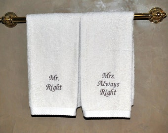 Natural Organic Cotton Mr Right and Mrs Always Right Hand Towel Set