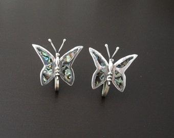 Butterfly Earrings, Sterling Silver Earrings, Mexican Silver Earrings, Silver Abalone Butterfly Earrings, Sterling Earrings, Shell Earrings