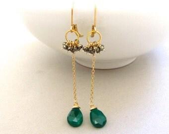Gold Onyx Earrings, Pyrite Wire Wrapped, Long Dangle, 14k Gold Hoop, Gemstone Cluster, Handmade Jewelry by Sonja Blume