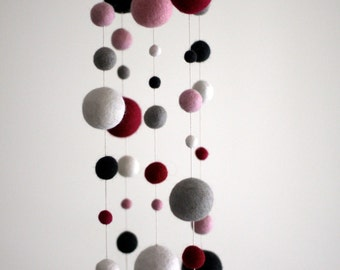 Felt Ball Mobile in Pink and Grey