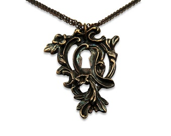Two for One Sale....Victorian Key hole Necklace Pendant - Ornate Bronze Escutcheon Skeleton Key