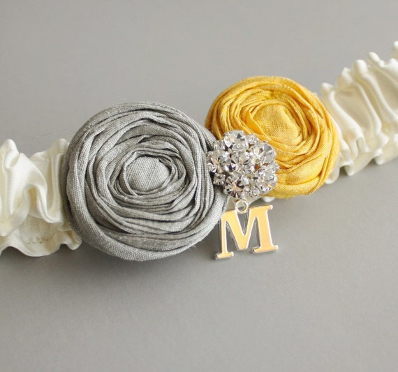 Ivory Garter with Yellow and Gray Roses and Your Initial (More Colors Available) - the Lucia Garter
