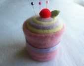 Cupcake Pincushion Felted Wool Upcycled Felted Wool Pink Yellow Purple Ribbon
