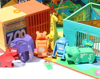 Vintage Mod Playskool Tykeworld Lock Up Zoo with Accessories and Box Model 390
