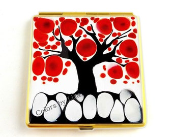 Square Compact Mirror Hand Painted Enamel Red Black and White Blossom Inspired Pocket Mirror Custom Colors and Personalized Options