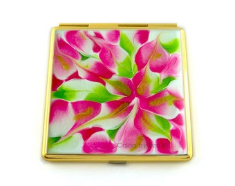 Square Compact Mirror Hand Painted Enamel Fuchsia Lime Green and White Blossom Inspired with Personalized and Color Options