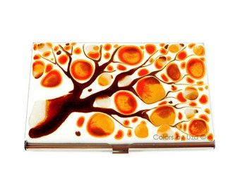 Business Card Case in Hand Painted Enamel Orange and Brown Blossom Metal Wallet Personalized and Custom Color Options
