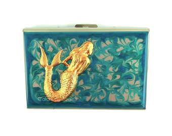 Mermaid Metal RFID Wallet Inlaid in Hand Painted Enamel Turquoise Swirl Design Nautical Inspired with Personalized and Color Options
