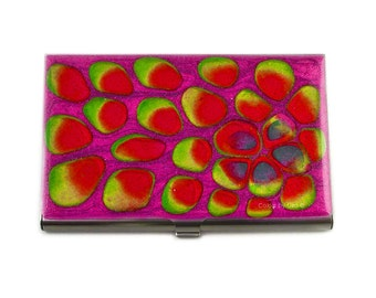 Business Card Case in Hand Painted Enamel Orchid Purple and Fuchsia Blossom Inspired Metal Wallet Custom Colors and Personalized Options