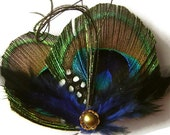 GOLD and COBALT Peacock Feather Hair Clip Wedding Hair Fascinator Clip Bridal Party