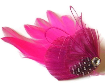 Peacock Feather Hair Clip PINCH of PINK Rhinestone Wedding Hair Fascinator Clip Bridal Party