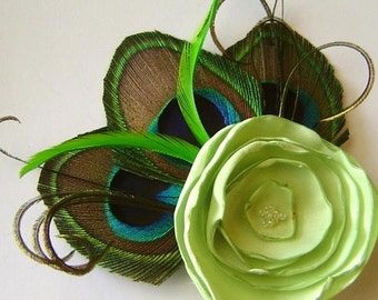 JENNIFER in LIGHT LIME Celery Green Peacock and Flower Hair Fascinator Clip Wedding Perfect for Bridal Party
