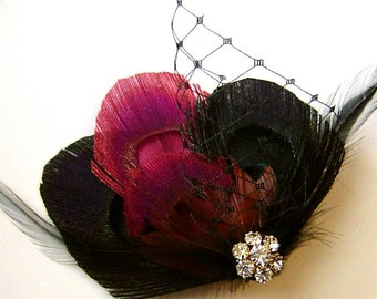 BURGUNDY and BLACK Peacock and Pheasant Feather Hair Fascinator with Rhinestone and Netting Bridal Party Bridesmaid