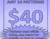 SUPER SAVING - 10 Pattern Tutorials for 40 Dollars