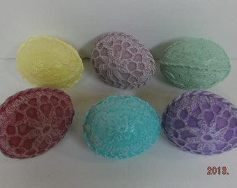 Ceramic Easter Eggs with Crocheted Look