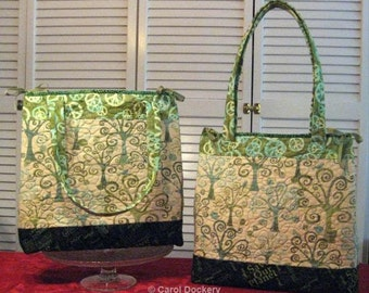 Tall Tote PATTERN - Wide and deep tote with 2 pockets and ribbon or snap closure.