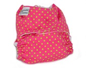 Fitted Cloth Diaper, OS, Flannel - Magenta, Pink, Lime Green, Dots