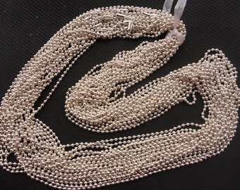 15pcs 27 inch 2.4mm silver ball chain necklace chain with matching connector
