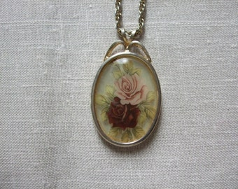 Vintage Rose Oval Pendant on Chain Reflective