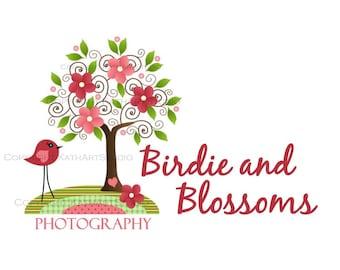 Premade Business Logo Design Illustration - Birdie and Blossoms