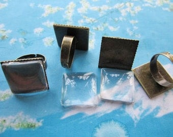 10pcs 17mm adj antiqued bronze 20mm square cameo/cabochon tray ring blank with 10pcs matching clear glass cabs