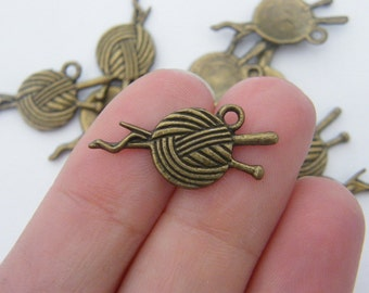 10 Knitting charms antique bronze tone BC148