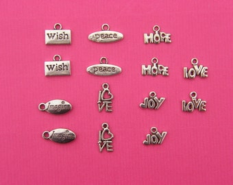 The Word Collection - 14 antique silver word charms