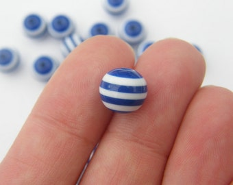 100 Dark blue and white striped resin beads 10mm B85
