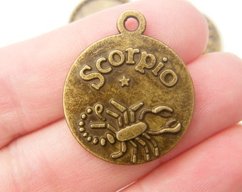5 Scorpio pendants antique bronze tone
