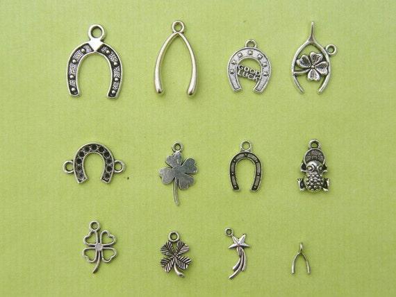 The Luck Charms Collection - 12 different antique silver tone charms