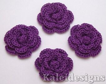 "Amethyst Purple 1-1/4"" Crochet Rose Flower Embellishments Handmade Appliques Scrapbook Fashion Accessories - 4 pcs. (3110-01)"