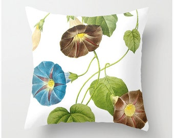 MORNING GLORY botanical print pillow, square accent throw pillow, home decor, pillow cover, cushion cover, scatter cushions, christmas gift